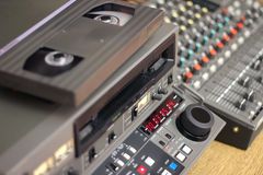 TV Editing - Equipment. Beta sp editing equipment, tape, editing machine, audio mixer stock photo