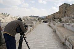 Tv ekranizacja przy Jerozolima w Izrael Obraz Royalty Free
