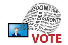 TV election campaign concept. Politician is doing TV election campaign by pre-election themes and promises. No word is repeated Royalty Free Stock Images