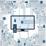 TV and electronics circuit Royalty Free Stock Images