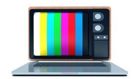 TV en línea Ordenador portátil con la pantalla pasada de moda de la TV Fotografía de archivo
