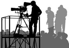 TV en las muchedumbres Fotografía de archivo libre de regalías