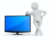 TV en mens op witte achtergrond. Geïsoleerdee 3D Stock Afbeeldingen