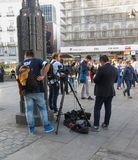Tv equipe at Puerta del Sol. MADRID, SPAIN - CIRCA OCTOBER 2017: tv equipe at Puerta del Sol meaning Sun Gate Royalty Free Stock Photography