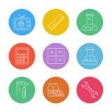 TV, escala, cubilete, calculadora, matemáticas, frasco químico, pintura stock de ilustración