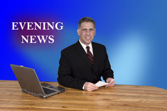 TV Evening News Anchor Man Reporter Newscast. TV evening news anchor man reporter. Is this anchorman going to give the facts or a bias report during the newscast royalty free stock photo