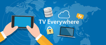 TV everywhere watch television on mobile device Stock Images