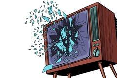 TV explodes, broken screen Royalty Free Stock Photo