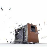 Tv exploding Royalty Free Stock Images