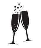Två exponeringsglas av Champagne Silhouette Vector Arkivfoto
