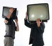 tv för begreppsmantelevision Royaltyfri Foto