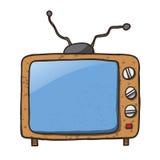 TV för hem- anordningar för tecknad film som gammal isoleras på vit Arkivbilder