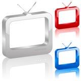 tv för symbol 3d Royaltyfria Bilder