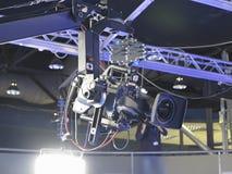 TV Fachowy pracowniany cyfrowy kamera wideo w telewizyjnym stu Zdjęcie Royalty Free