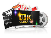 TV and film strip. 8K TV, popcorn and film strip on a white background stock illustration
