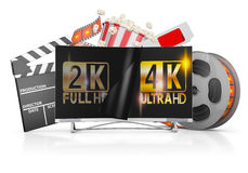 TV and film strip. 4K TV, popcorn and film strip on a white background Royalty Free Stock Images