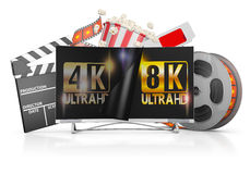 TV and film strip. 8K TV, popcorn and film strip on a white background Royalty Free Stock Images