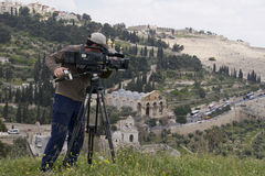 Tv filming Israel Stock Photo