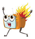 Tv fire. Screaming orange tv set running around with flames Stock Photography