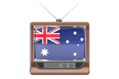TV with flag of Australia. Australian Television concept, 3D ren Stock Photos