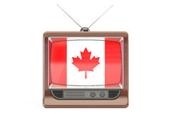 TV with flag of Canada. Canadian Television concept, 3D renderin Stock Images