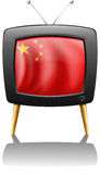 A TV with the flag of China Royalty Free Stock Photography