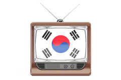 TV with flag of South Korea. Television concept, 3D rendering Stock Photos