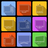 TV flat icons set Royalty Free Stock Photography