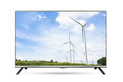 TV flat screen landscape isolated white background. Clipping path stock photo
