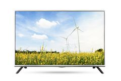 TV flat screen landscape isolated white background. Clipping path stock image