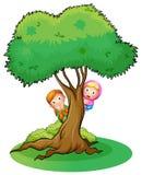 Två flickor som döljer på trädet Fotografering för Bildbyråer