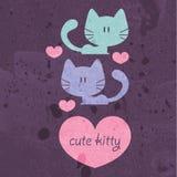 Två förälskade gulliga katter Arkivfoton
