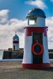 Två fyrar på Castletown i ön av mannen Royaltyfri Foto