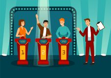 TV game show with three participants answering questions or solving puzzles and host. Smiling men and women participate vector illustration