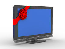TV in gift on white background Royalty Free Stock Photos