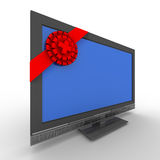 TV in gift on white background Royalty Free Stock Images