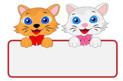 Två glade kattungar rymmer ett rent baner Royaltyfri Foto