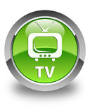 TV glossy green round button Royalty Free Stock Images