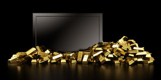 Tv with gold bars. 3d rendering of a tv surrounded with gold bars Stock Photos