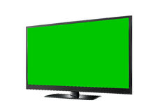 TV with green flat wide screen Stock Photo