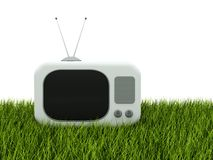 TV on green gras. S isolated on white Stock Images