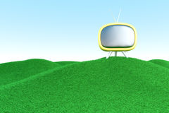 TV on green Hills vector illustration