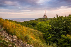 TV and GSM Transmitter. At Sunset on Zobor Mountain, Nitra, Slovakia Royalty Free Stock Photo