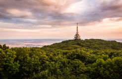 TV and GSM Transmitter. At Sunset on Zobor Mountain, Nitra, Slovakia Stock Photography