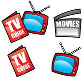 Tv guide and media icons. Isolated on white vector illustration