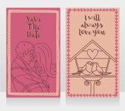 Två gulliga kort för dag för årsdag- eller valentin` s Royaltyfri Foto
