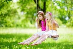 Två gulliga lilla systrar som har gyckel på en gunga tillsammans i härlig sommarträdgård Arkivbilder
