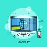 TV híbrida o elegante que exhibe el contenido del sitio web Concepto de televisión con la conexión a internet, moderno libre illustration