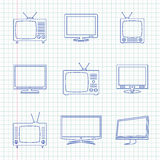 TV hand drawn icons Stock Image