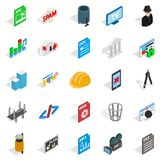 TV hardware icons set, isometric style. TV hardware icons set. Isometric set of 25 tv hardware vector icons for web isolated on white background Royalty Free Stock Image